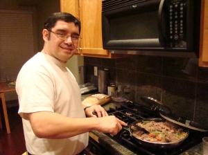 Sergio making Bife A La Criolla